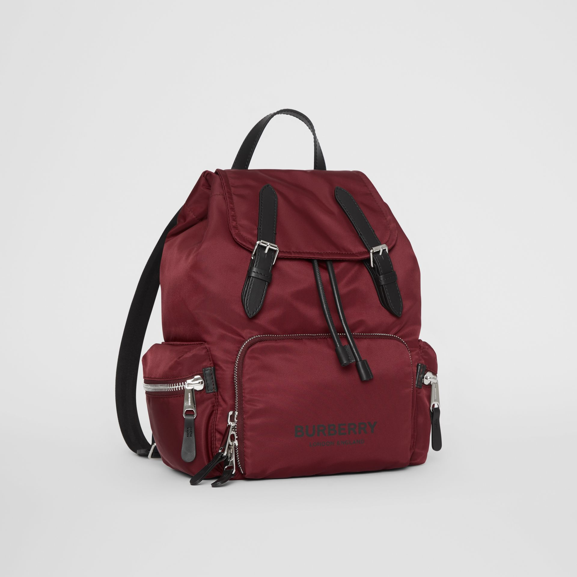 The Medium Rucksack in Logo Print Nylon in Burgundy - Women | Burberry Canada - gallery image 4