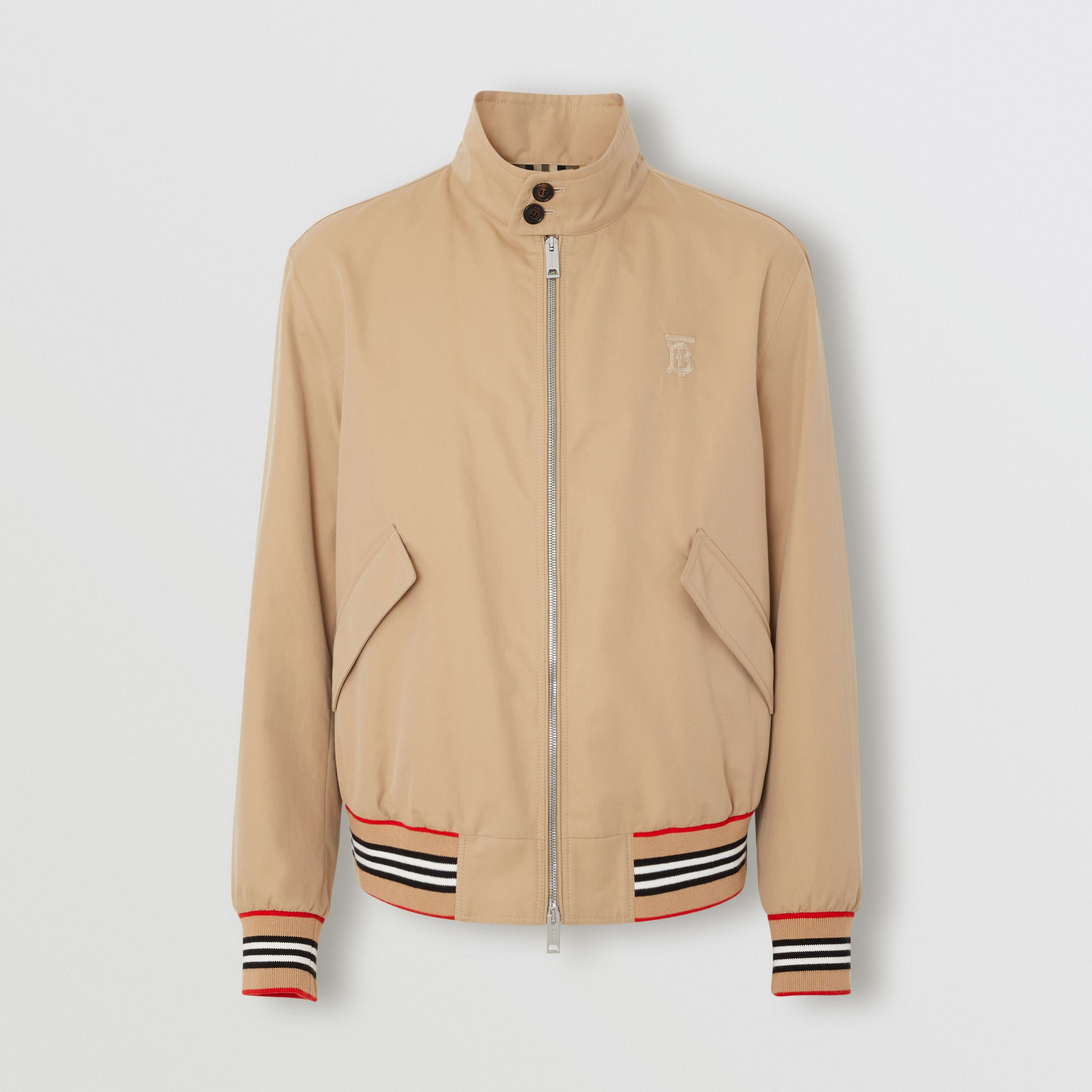 Icon Stripe Detail Cotton Gabardine Harrington Jacket in Honey - Men | Burberry - 4