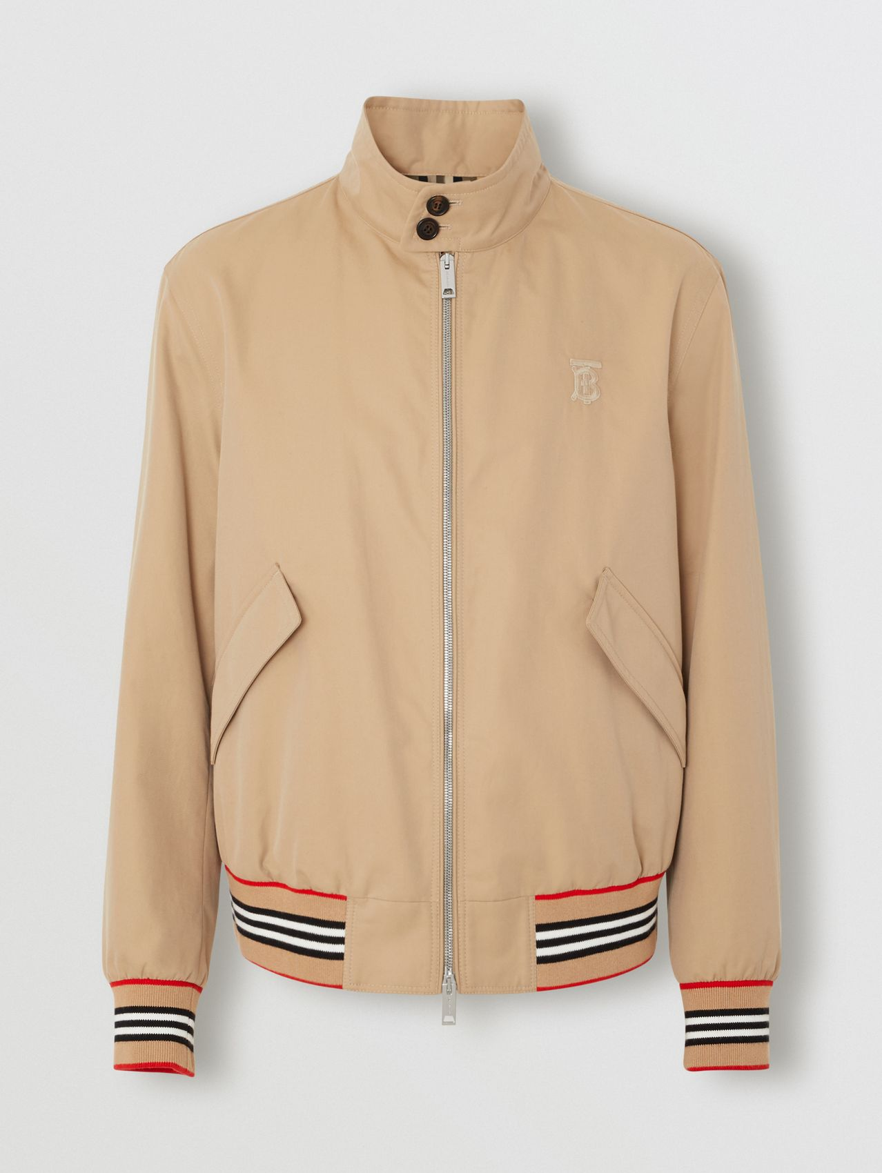 Icon Stripe Detail Cotton Gabardine Harrington Jacket in Honey