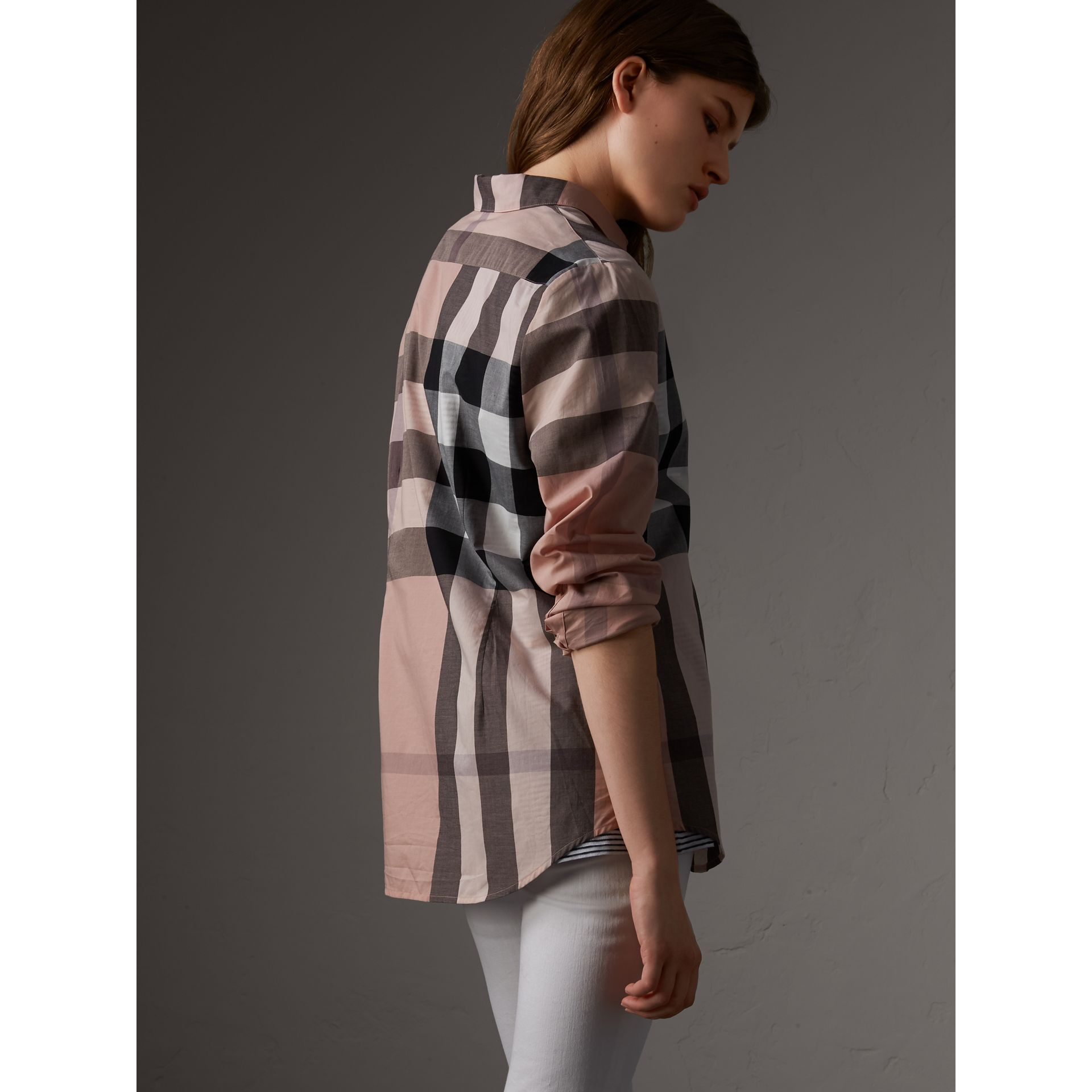 Check Cotton Shirt in Antique Pink - Women | Burberry Canada - gallery image 3