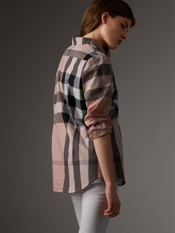Check Cotton Shirt in Antique Pink - Women | Burberry Canada - cell image 2