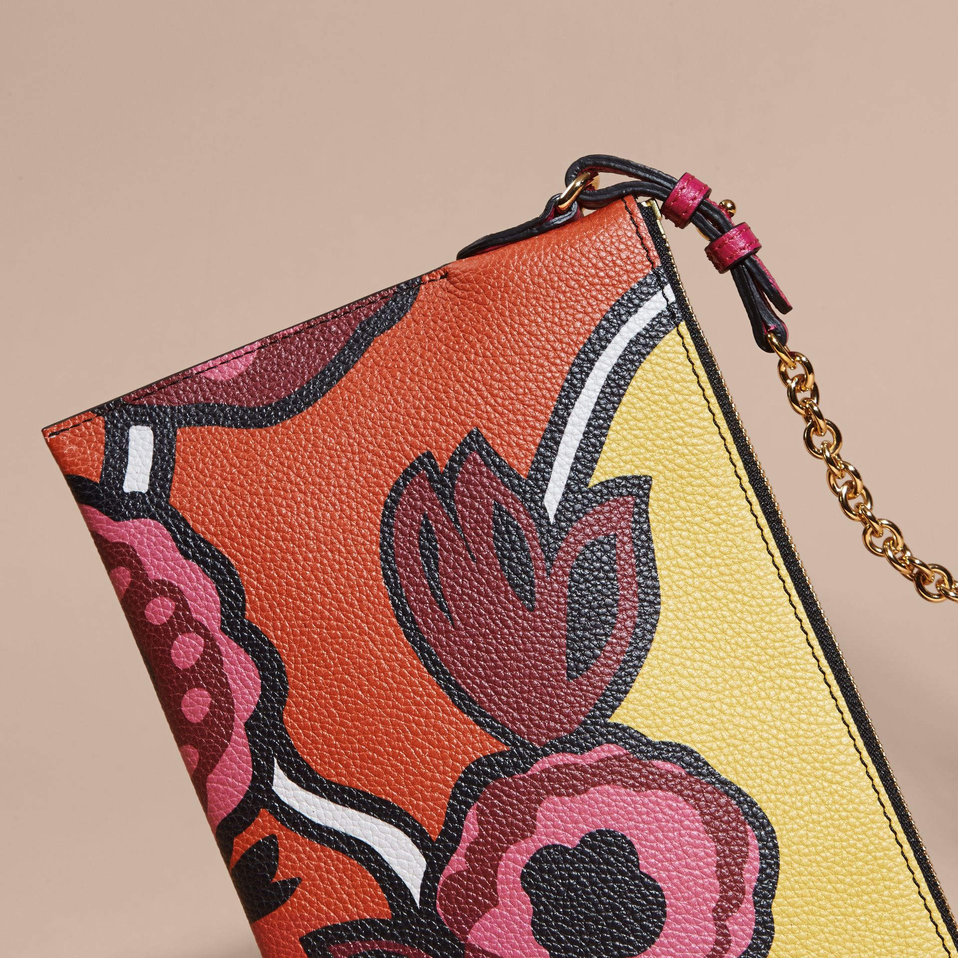 Floral Print Leather Clutch Bag in Vibrant Orange - gallery image 5