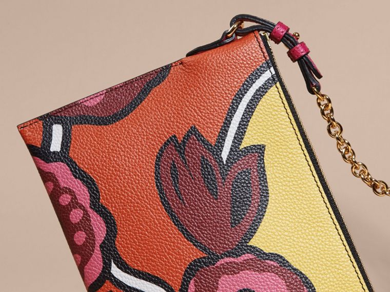 Floral Print Leather Clutch Bag in Vibrant Orange - cell image 4