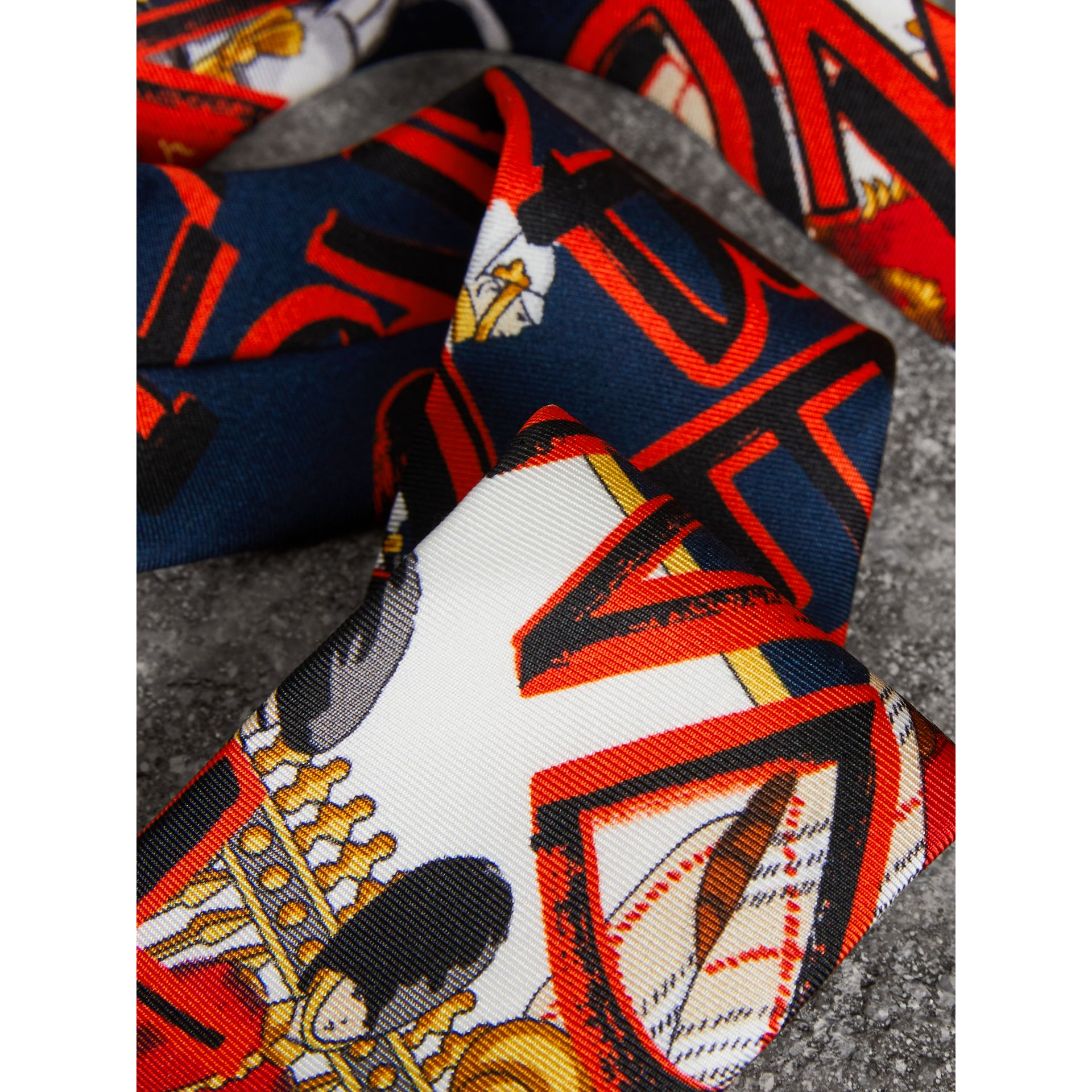 Slim Cut Graffiti Print Silk Tie in Navy - Men | Burberry - gallery image 1