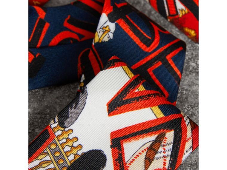 Slim Cut Graffiti Print Silk Tie in Navy - Men | Burberry Singapore - cell image 1