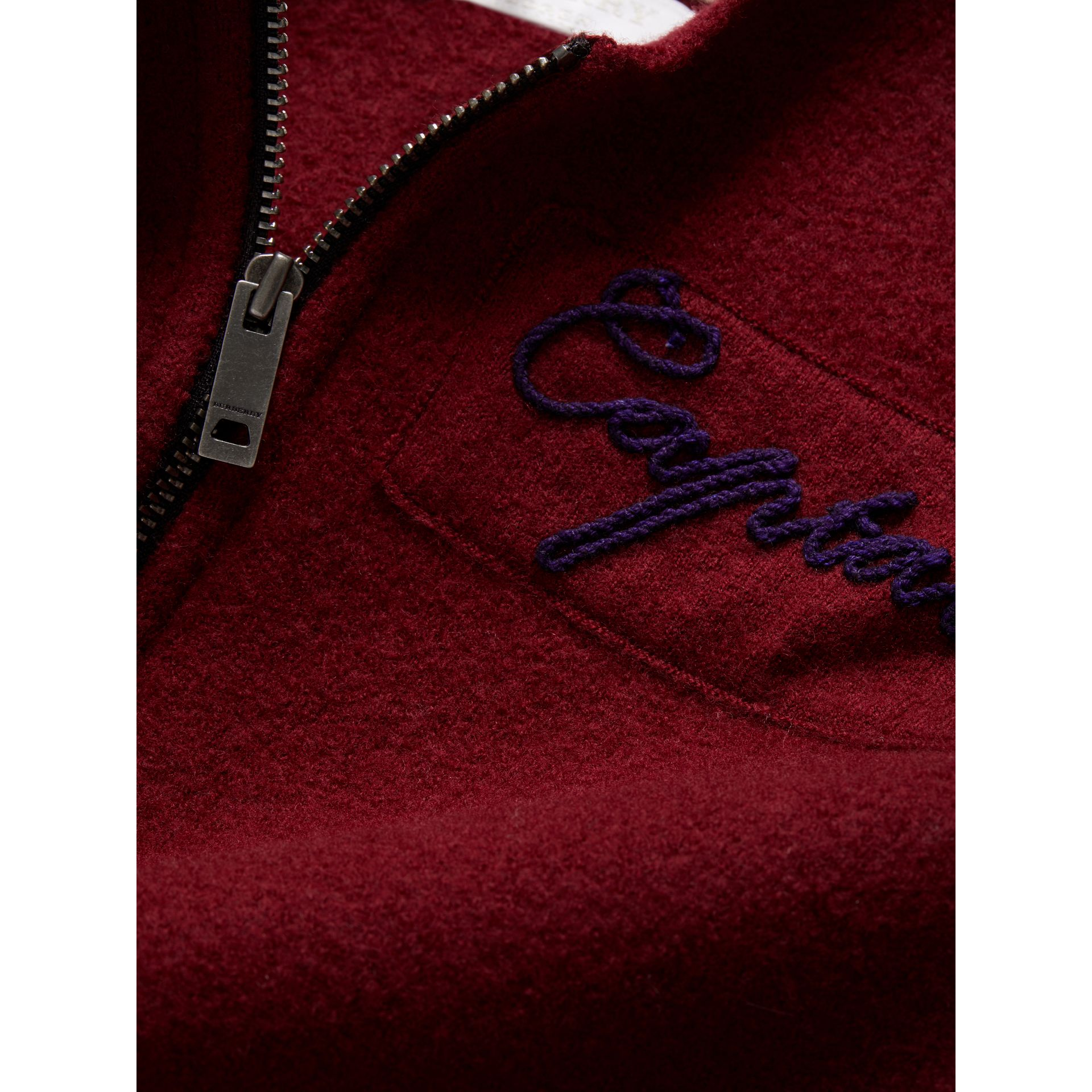 Merino Wool and Cotton Baseball Jacket in Burgundy | Burberry - gallery image 1