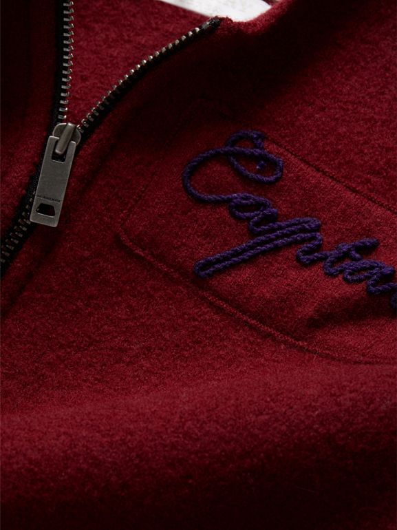 Merino Wool and Cotton Baseball Jacket in Burgundy | Burberry - cell image 1