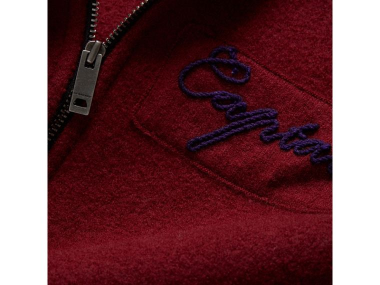 Merino Wool and Cotton Baseball Jacket in Burgundy - Boy | Burberry - cell image 1