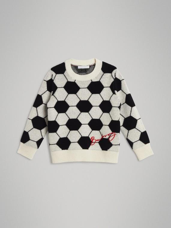 Suéter de cashmere, lã e algodão em intársia (Preto/branco)