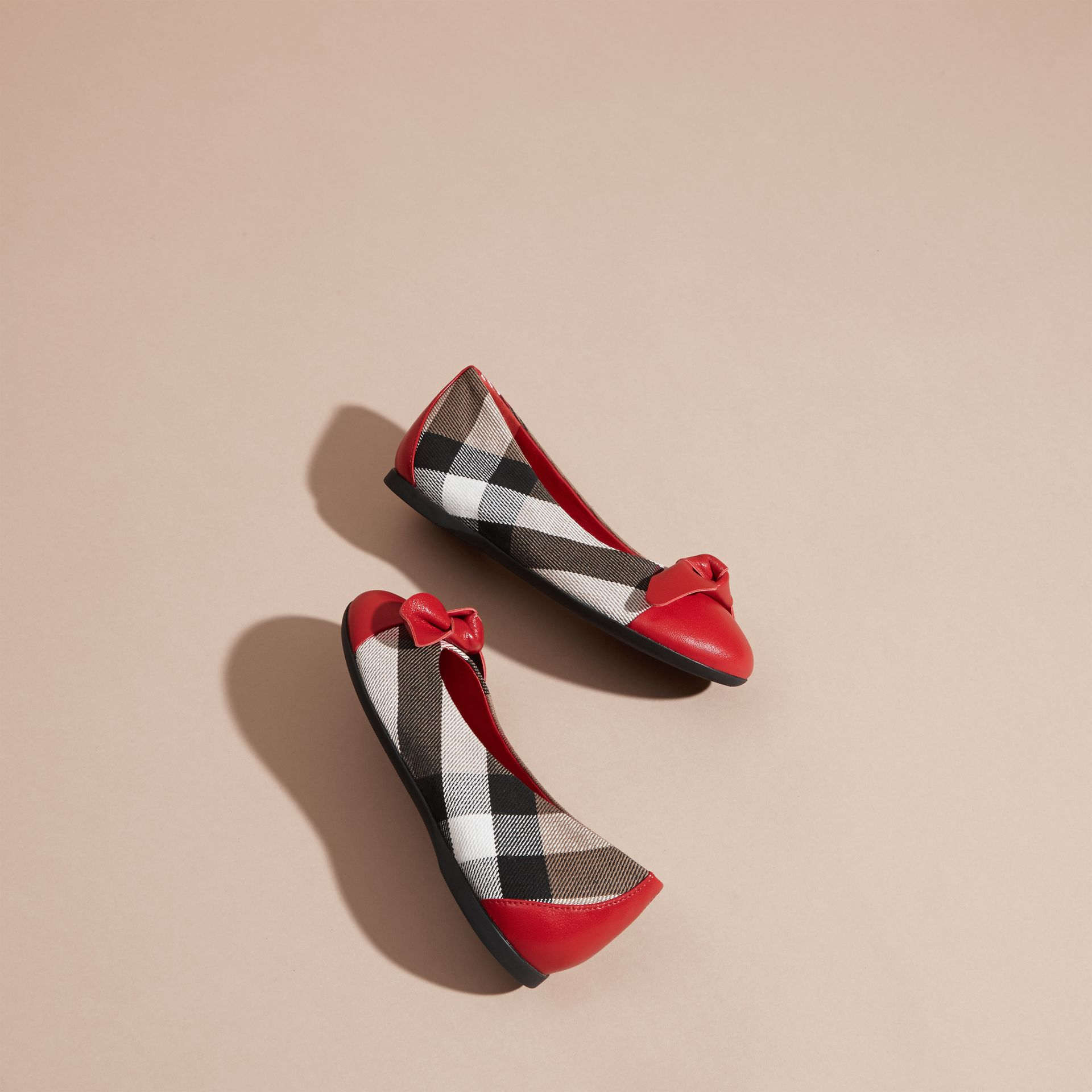 Leather and House Check Ballerinas in Parade Red - Girl | Burberry - gallery image 4
