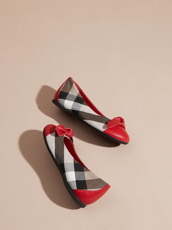 Leather and House Check Ballerinas in Parade Red - Girl | Burberry - cell image 3