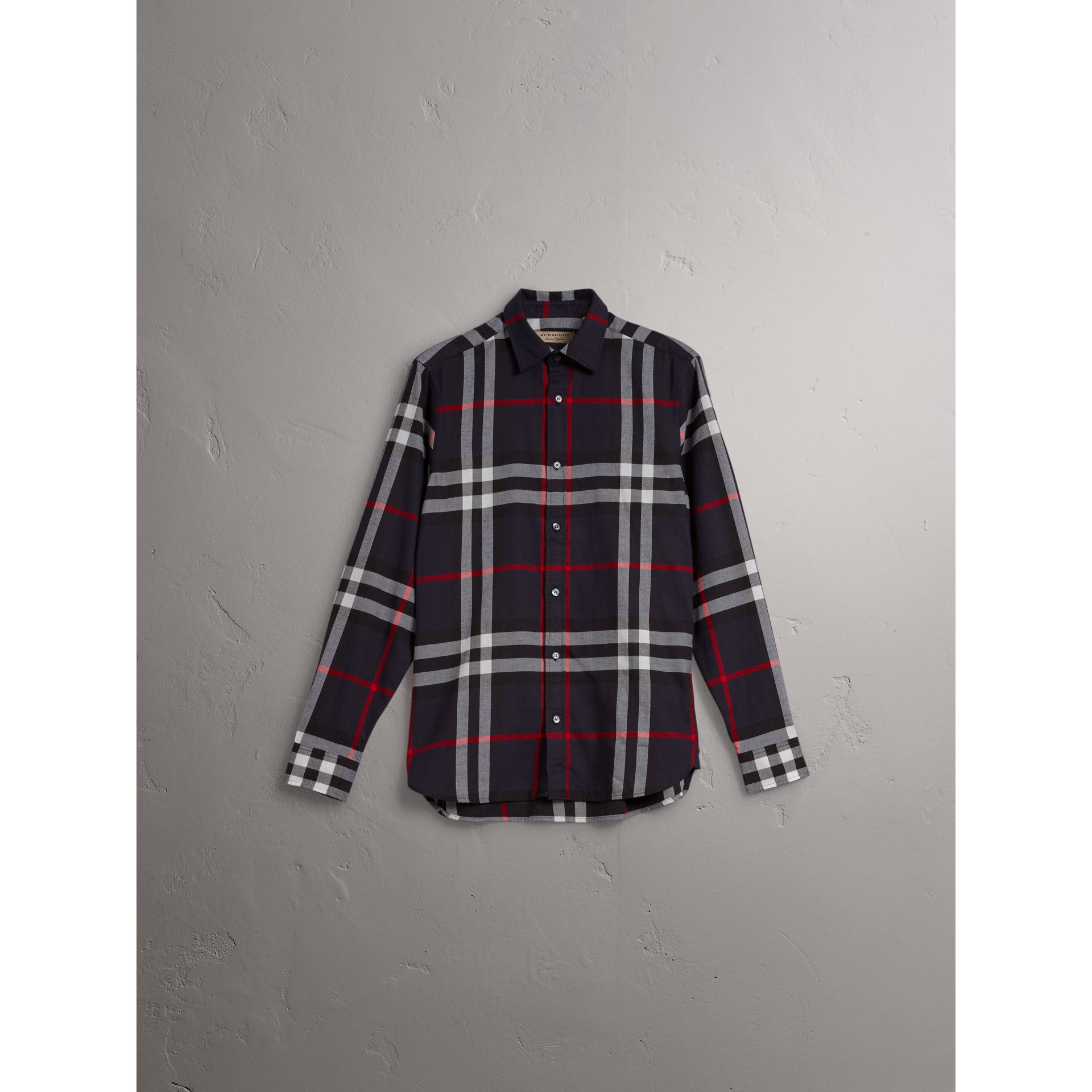 Check Cotton Flannel Shirt in Navy - Men | Burberry United States - gallery image 3