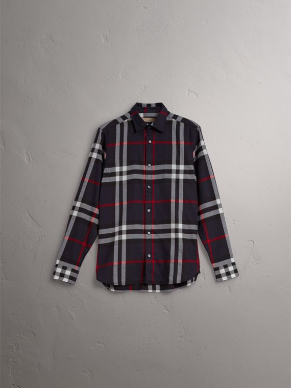 Check Cotton Flannel Shirt in Navy - Men | Burberry Singapore - cell image 3