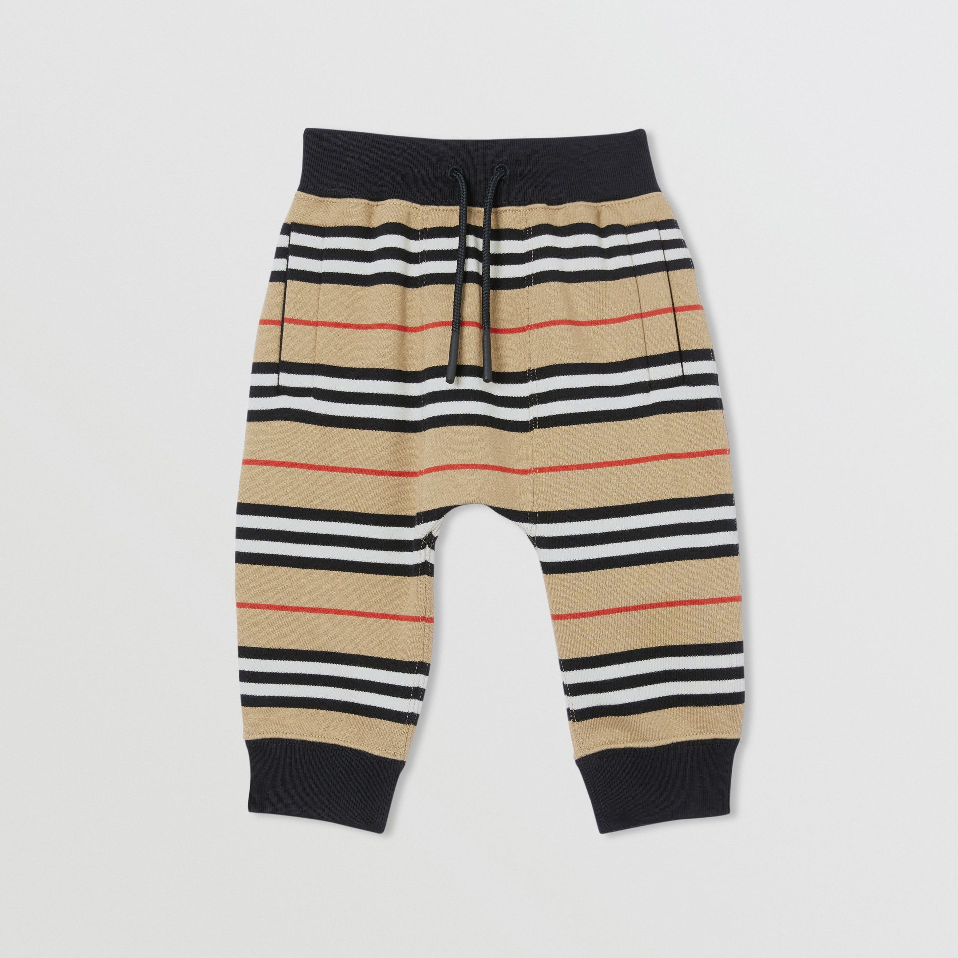Icon Stripe Cotton Trackpants in Archive Beige - Children | Burberry - gallery image 0