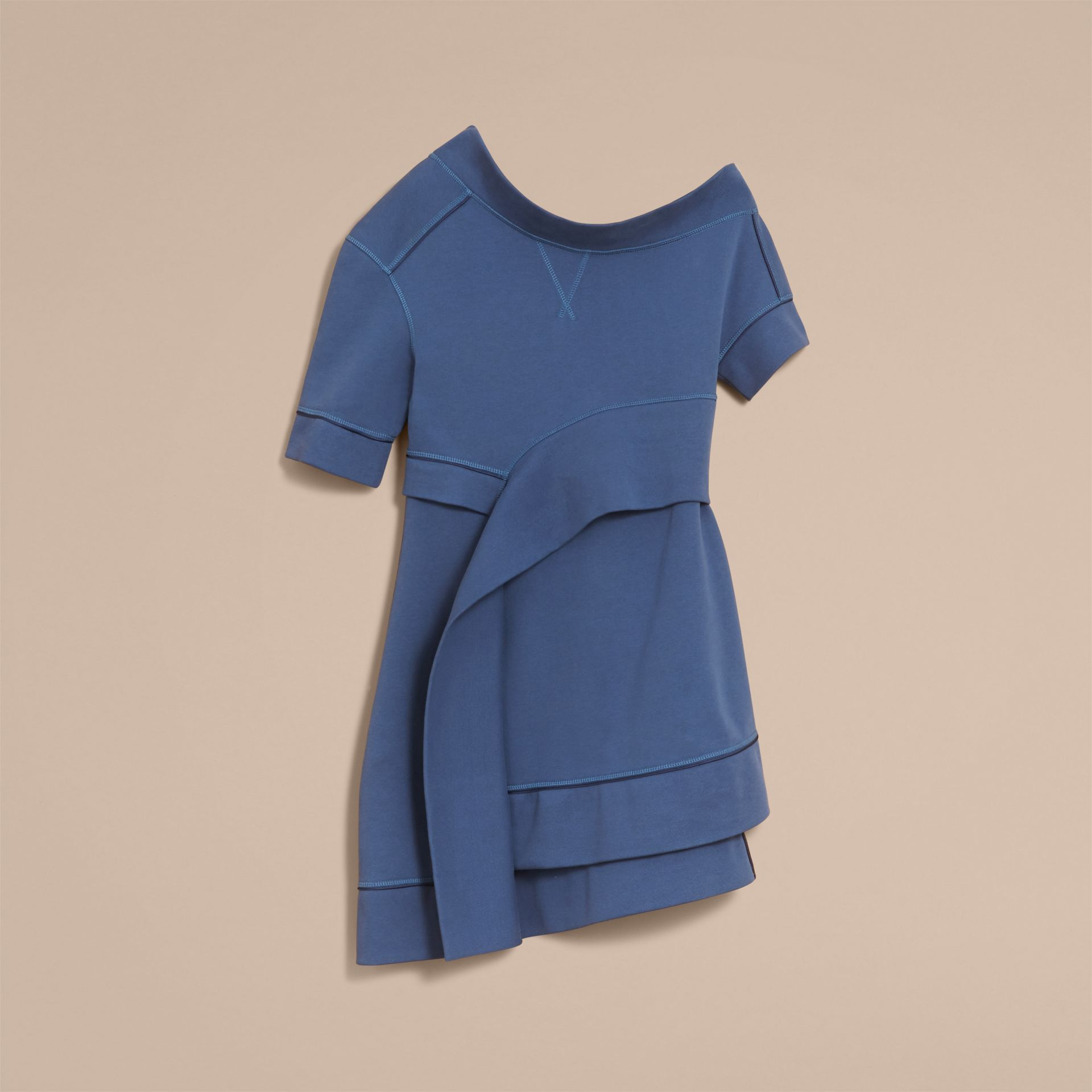 One-shoulder Sweatshirt Dress in Pewter Blue - Women | Burberry - gallery image 4
