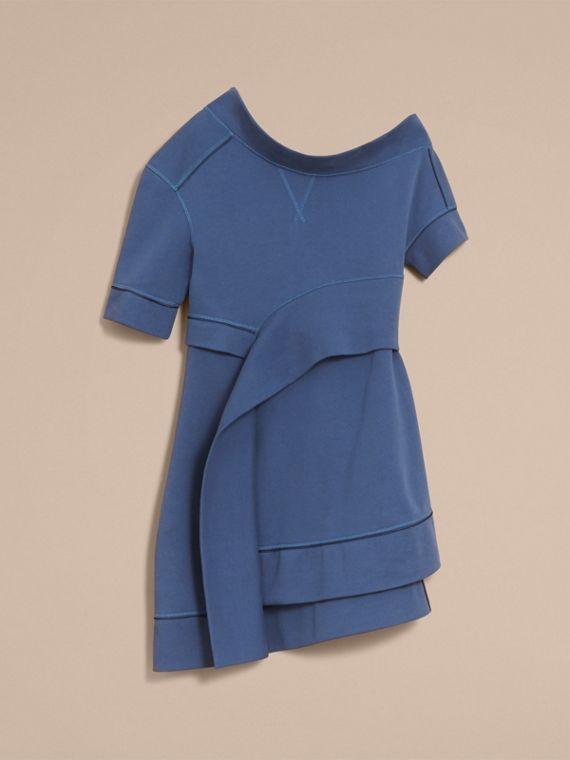 One-shoulder Sweatshirt Dress in Pewter Blue - Women | Burberry Singapore - cell image 3
