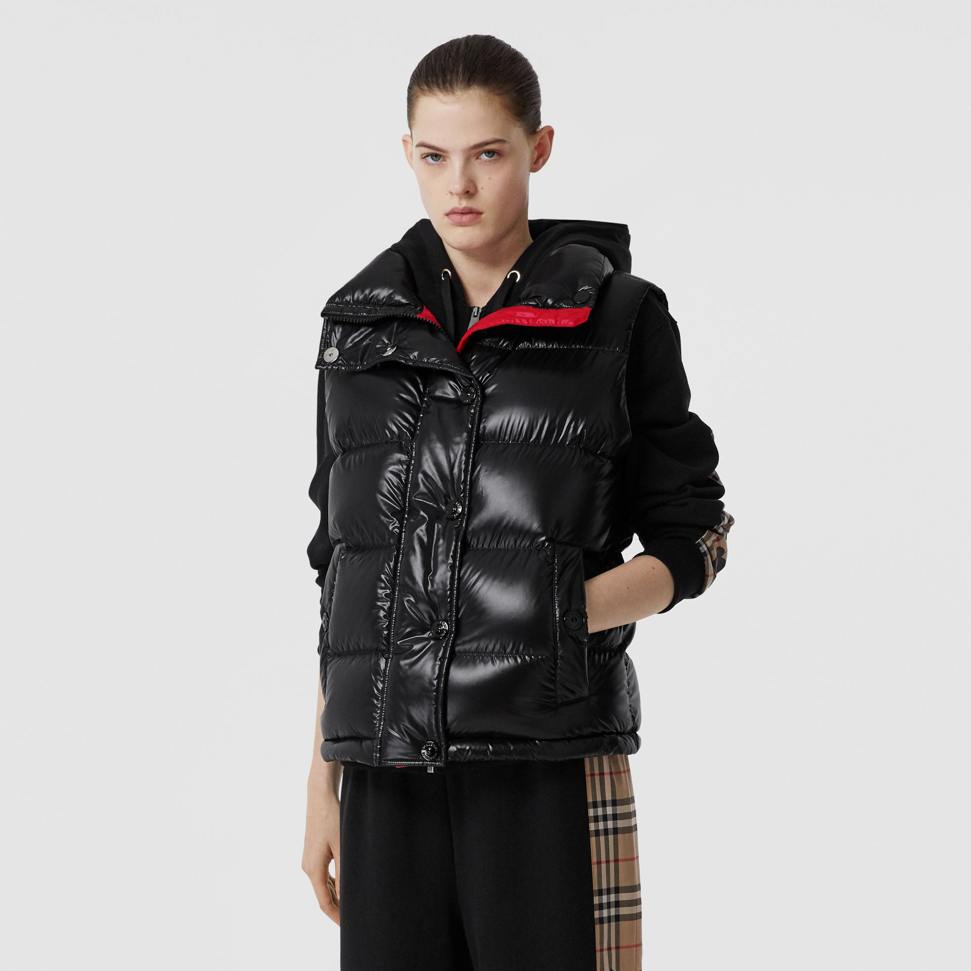 Logo Graphic Puffer Gilet in Black - Women | Burberry - gallery image 5
