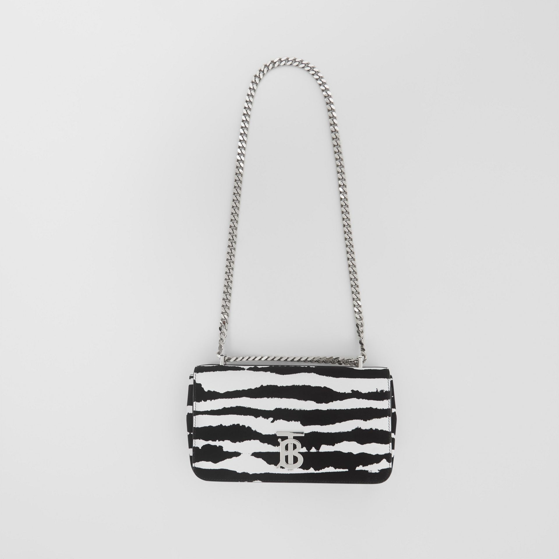 Small Watercolour Flock Leather Lola Bag in White/black - Women | Burberry United Kingdom - gallery image 3