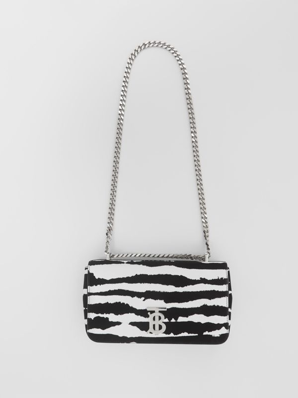 Small Watercolour Flock Leather Lola Bag in White/black - Women | Burberry United Kingdom - cell image 3