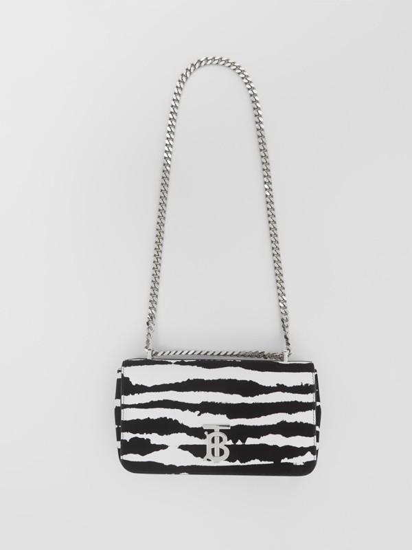 Borsa Lola piccola in pelle floccata con motivo acquerello (Bianco/nero) - Donna | Burberry - cell image 3