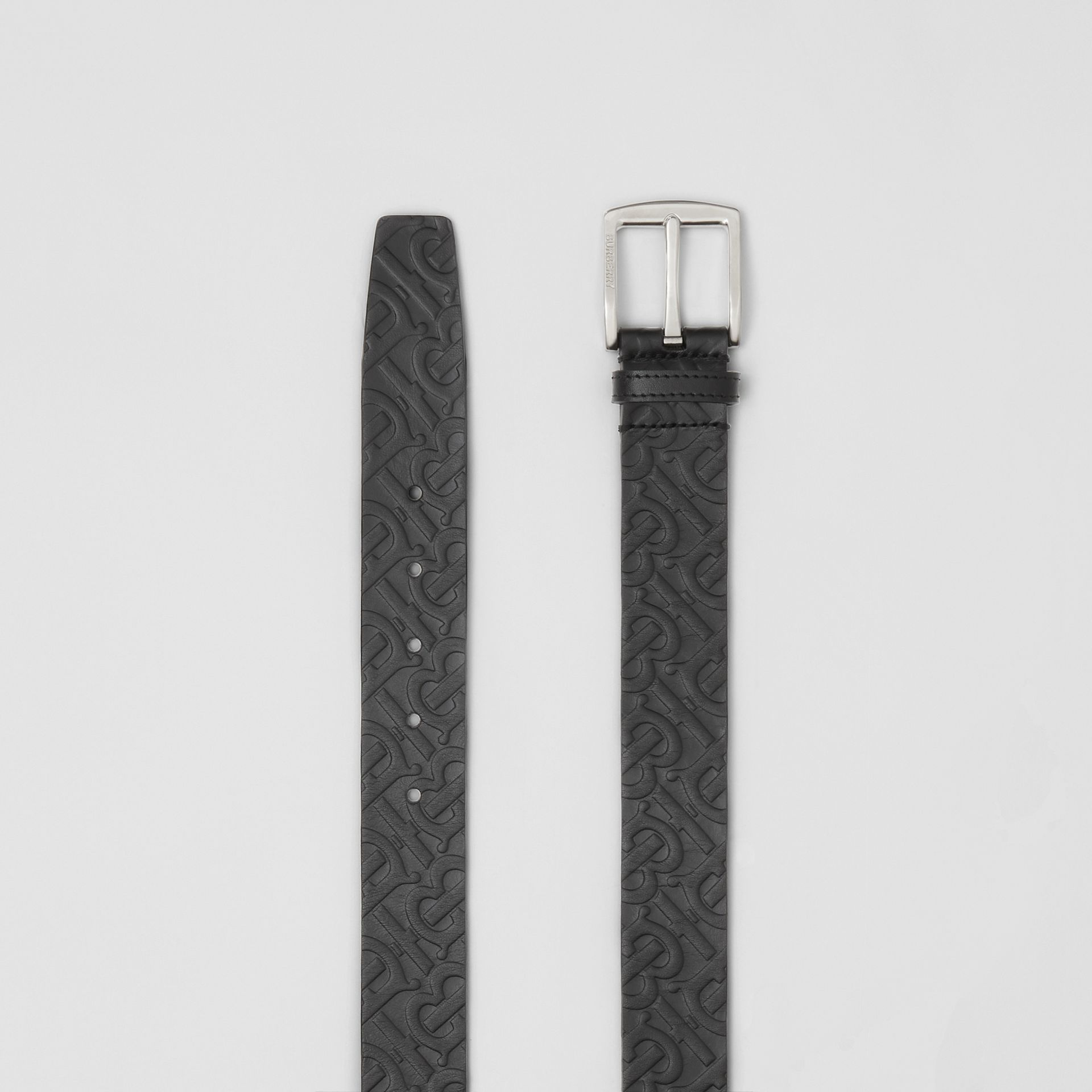 Monogram Leather Belt in Black - Men | Burberry Australia - gallery image 5
