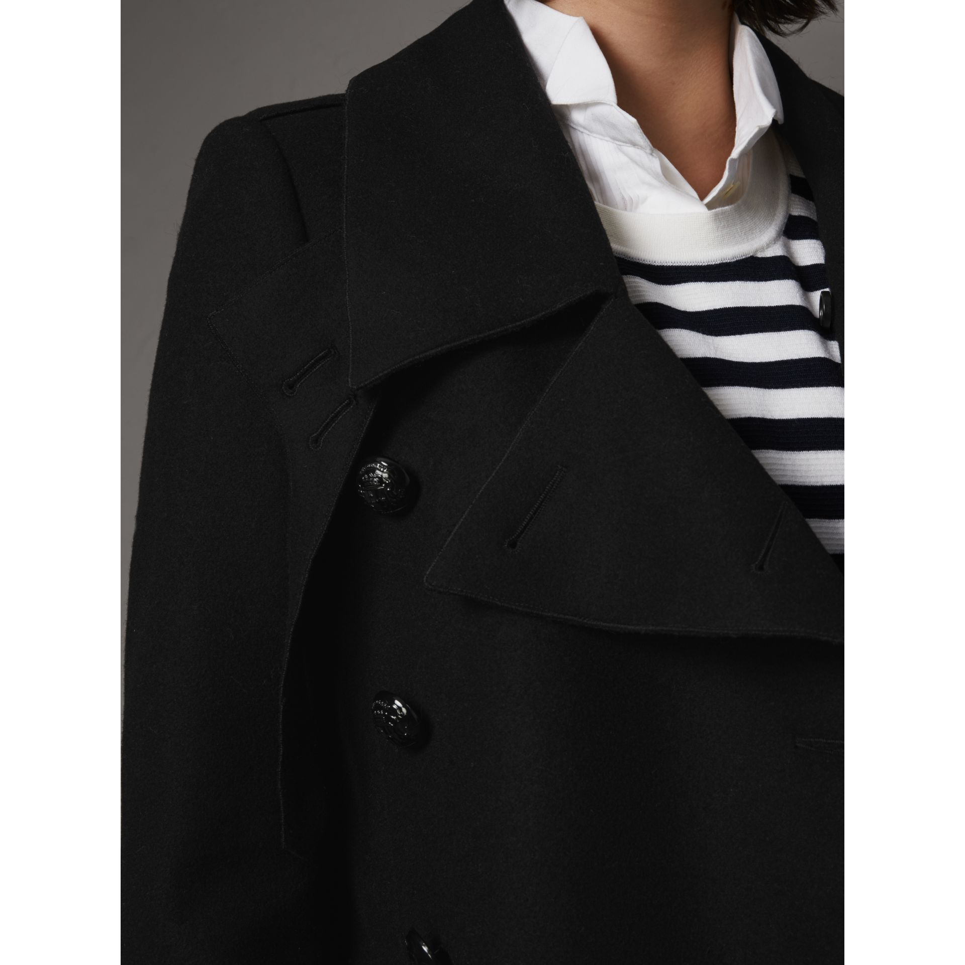 Detachable Fox Fur Trim Wool Blend Trench Coat in Black - Women | Burberry - gallery image 5