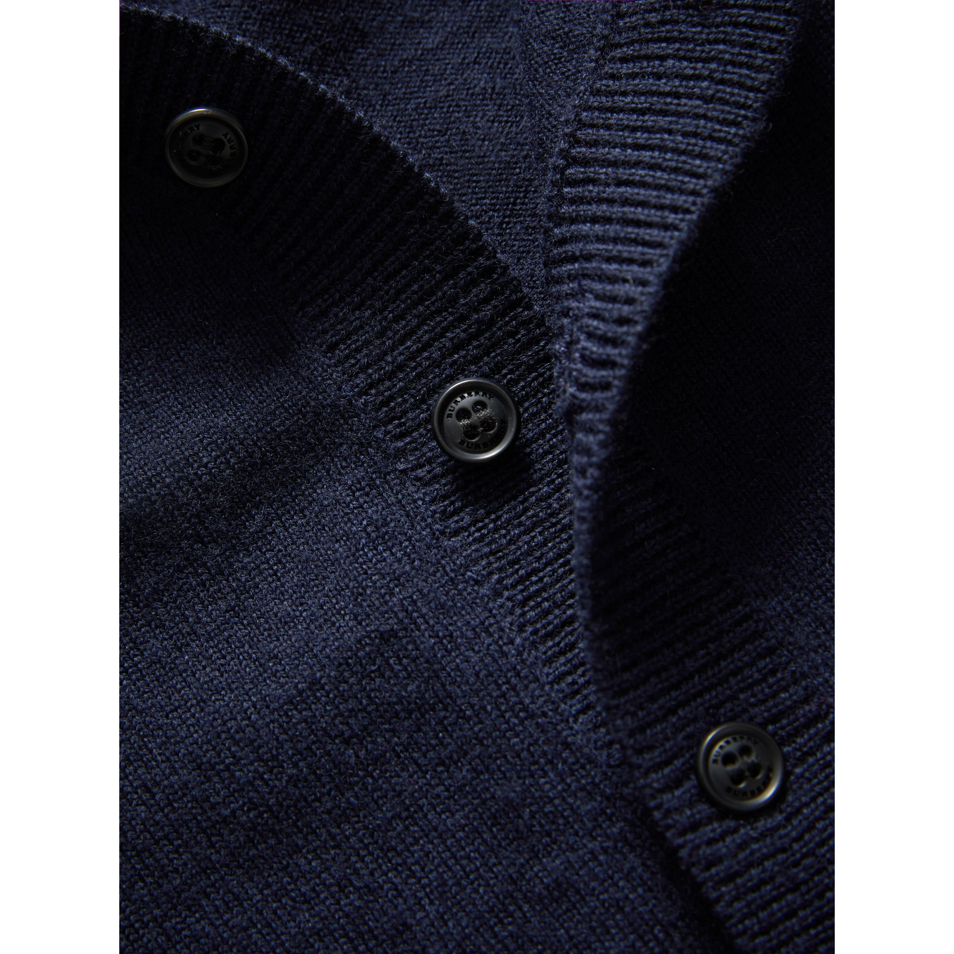 Check Detail Merino Wool Cardigan in Navy | Burberry - gallery image 1