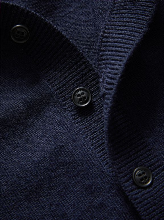 Check Detail Merino Wool Cardigan in Navy | Burberry - cell image 1