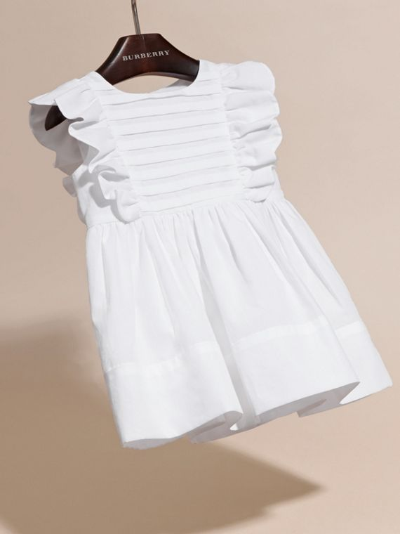 Ruffle and Pleat Detail Cotton Dress | Burberry - cell image 2
