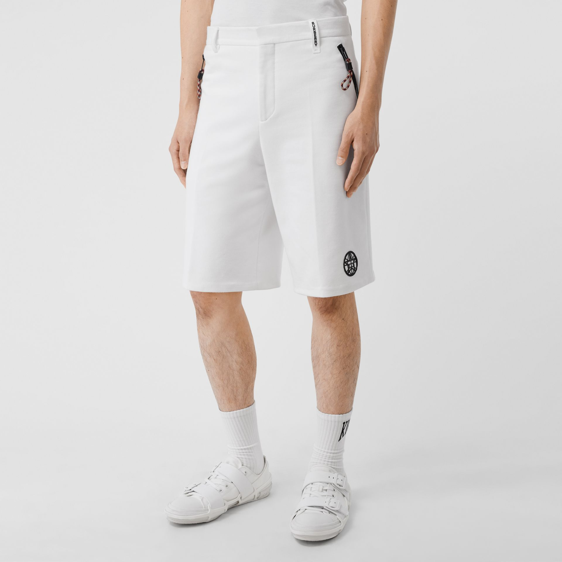Globe Graphic Cotton Tailored Shorts in Optic White | Burberry - gallery image 4