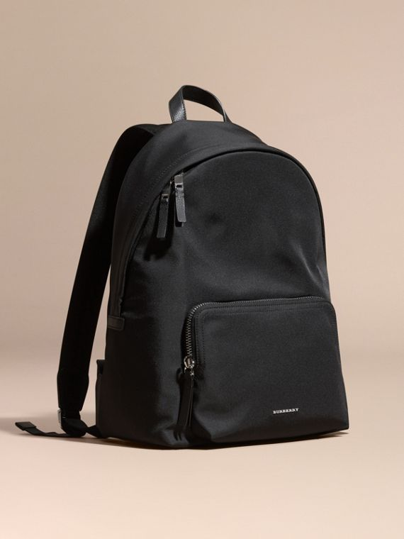 Leather Trim Nylon Backpack Black