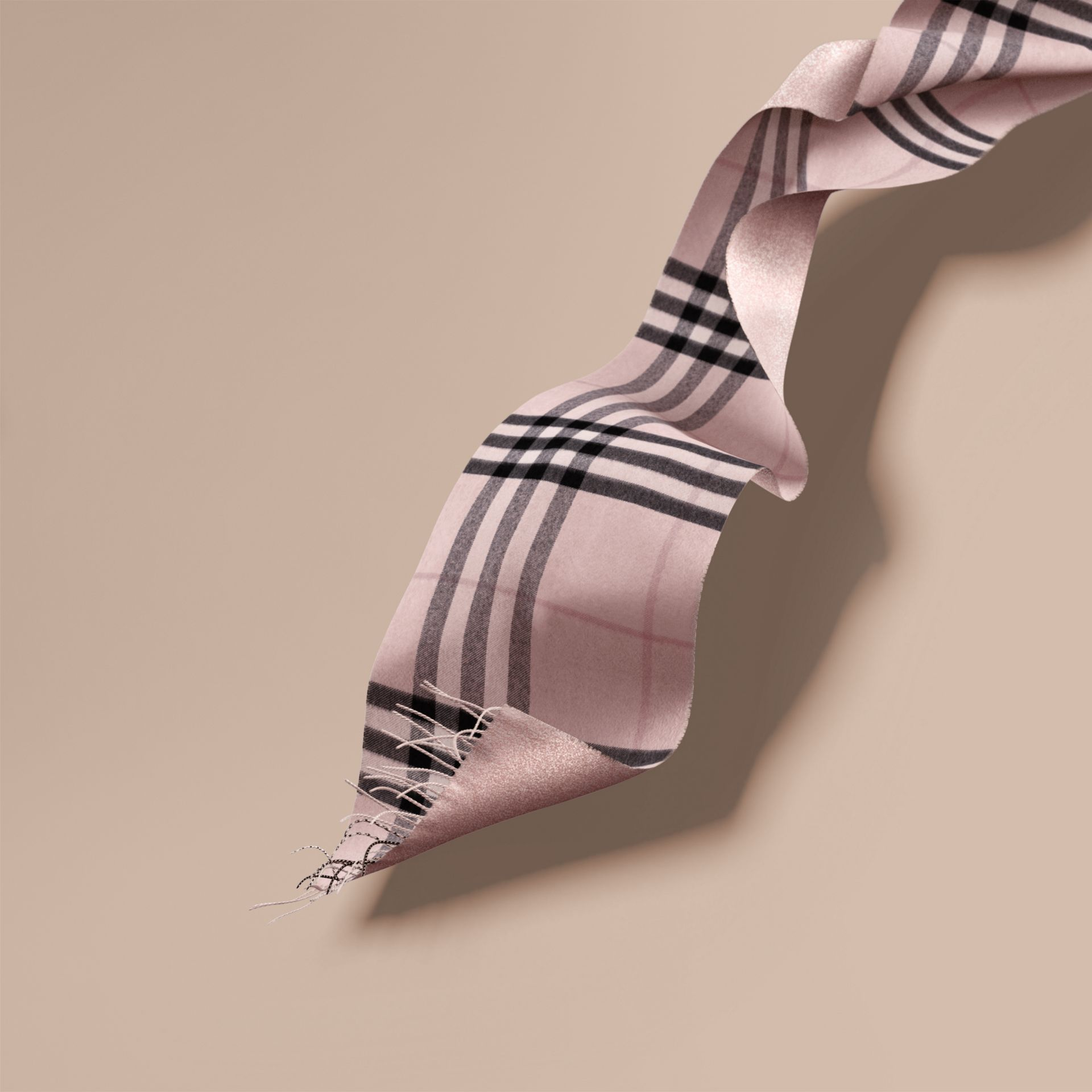 Reversible Metallic Check Cashmere Scarf in Ash Rose - gallery image 1