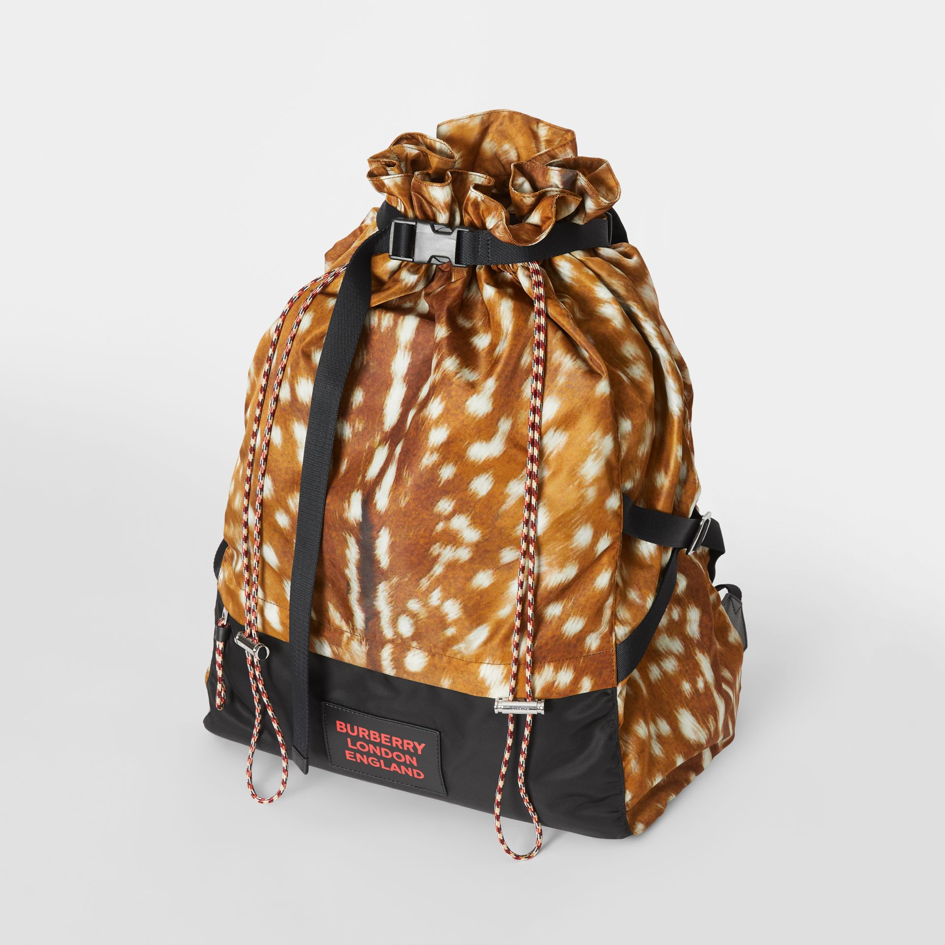 Deer Print Nylon Drawcord Backpack in Tan/white - Men | Burberry - gallery image 2