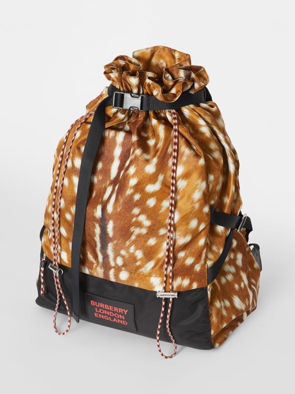 Deer Print Nylon Drawcord Backpack in Tan/white - Men | Burberry - cell image 3