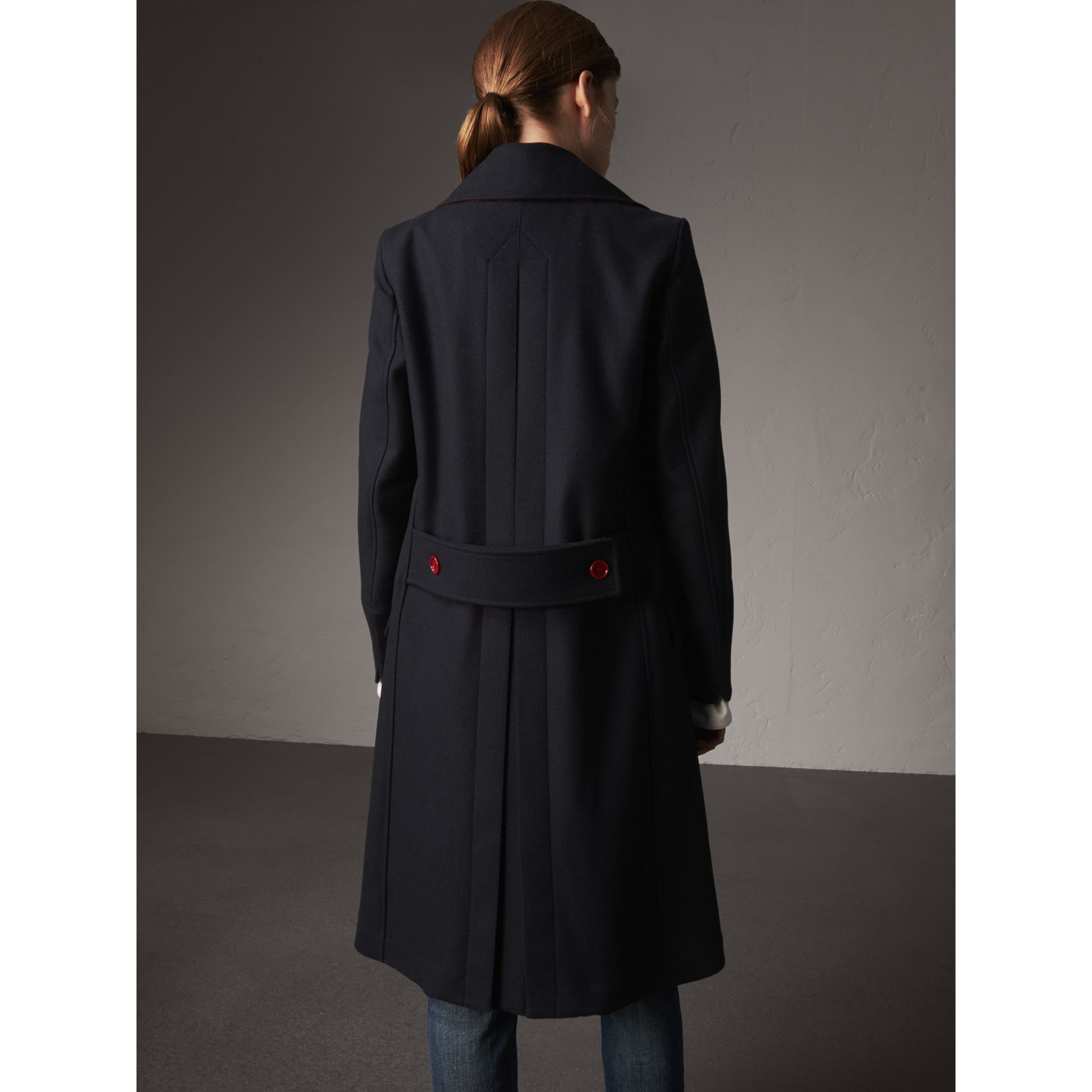 Resin Button Wool Oversize Coat in True Navy - Women | Burberry - gallery image 3