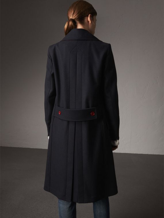 Resin Button Wool Oversize Coat in True Navy - Women | Burberry - cell image 2