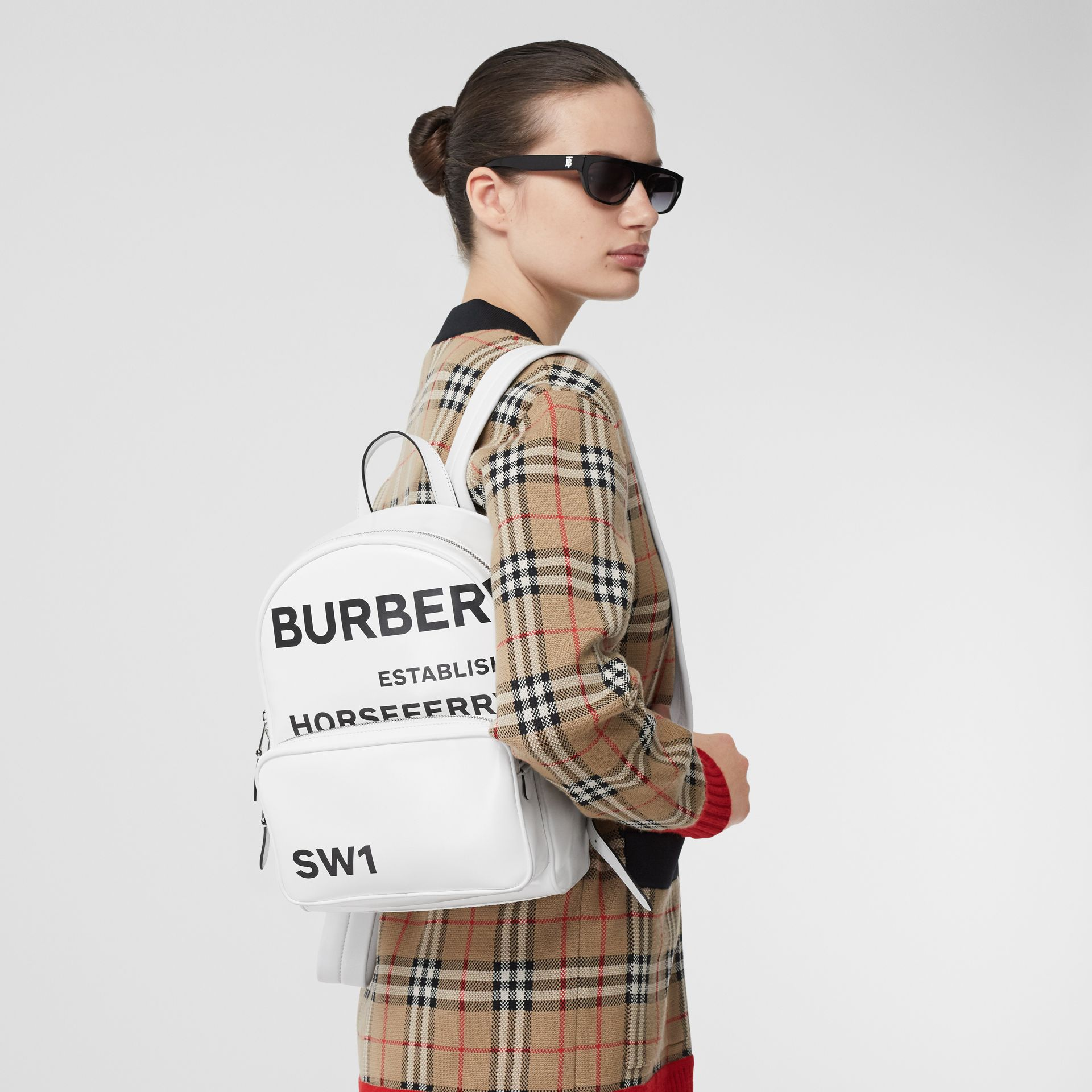 Horseferry Print Coated Canvas Backpack in White | Burberry - gallery image 2