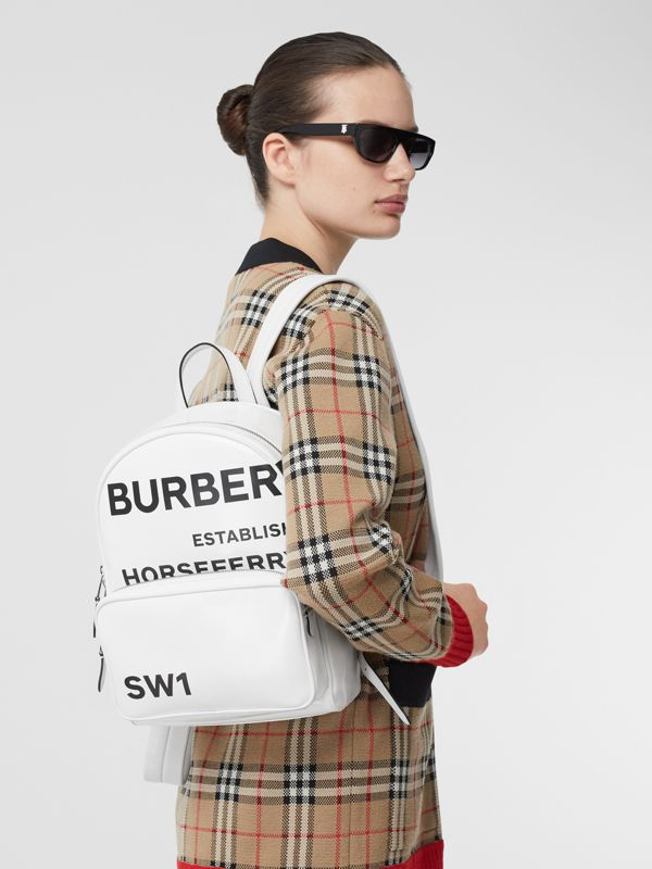Horseferry Print Coated Canvas Backpack in White | Burberry - cell image 2