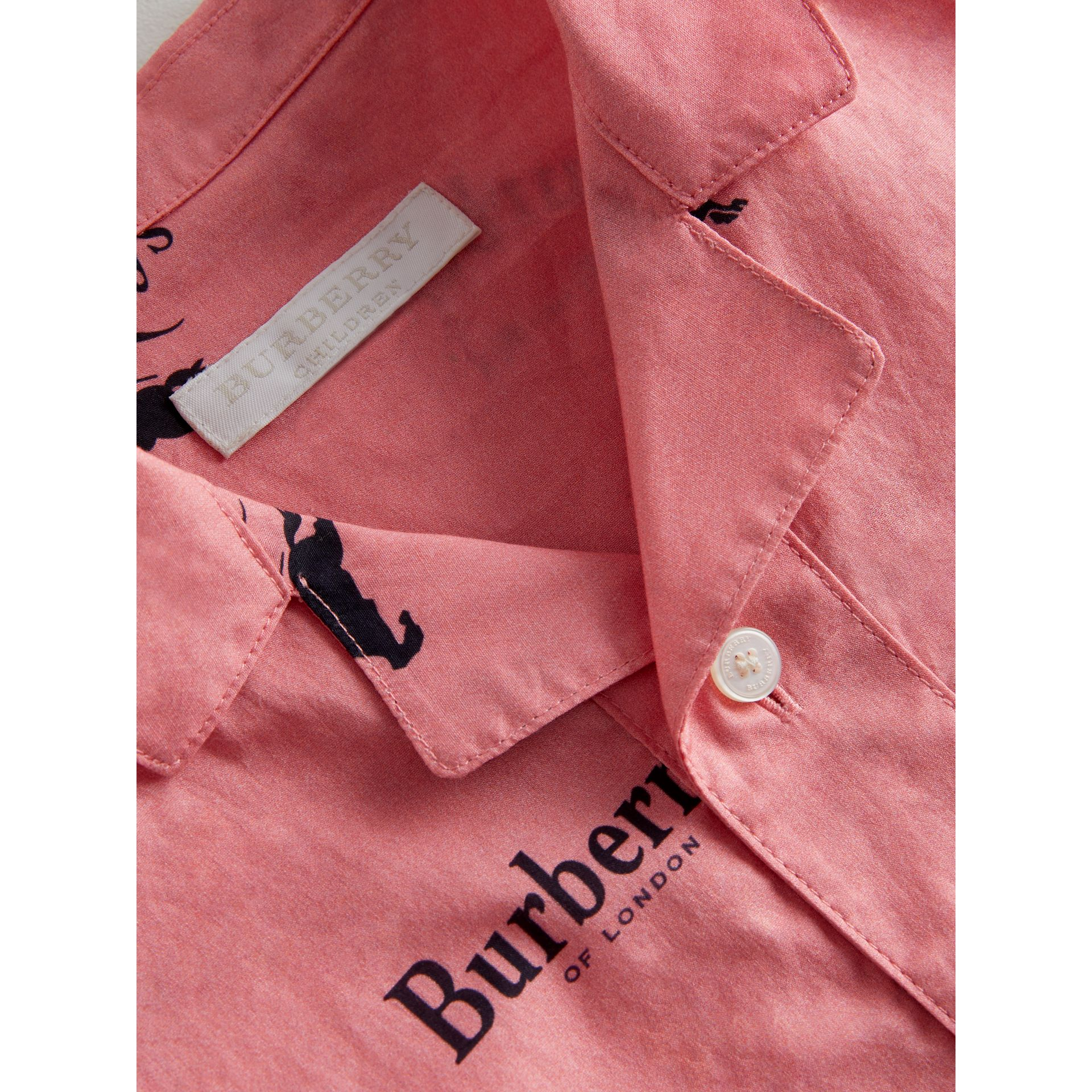 Short-sleeve Archive Logo Print Cotton Shirt in Rose Pink | Burberry - gallery image 4