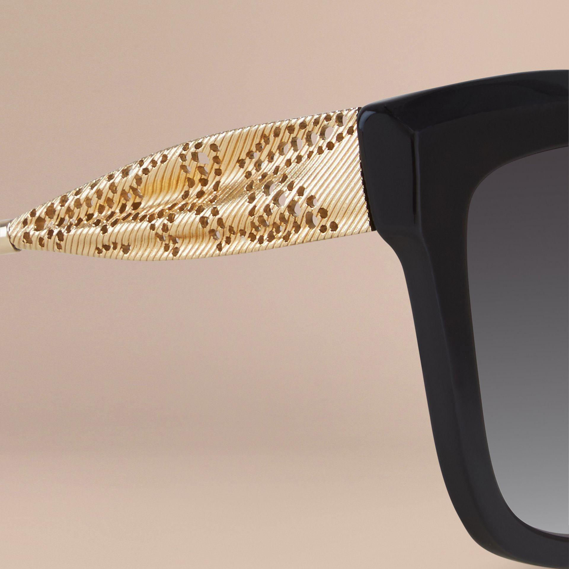 Black Gabardine Lace Collection Square Frame Sunglasses Black - gallery image 2