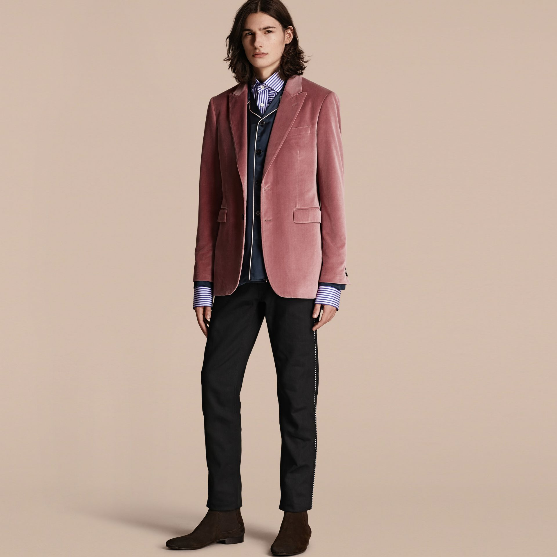 Rose pink Tailored Velvet Jacket - gallery image 1