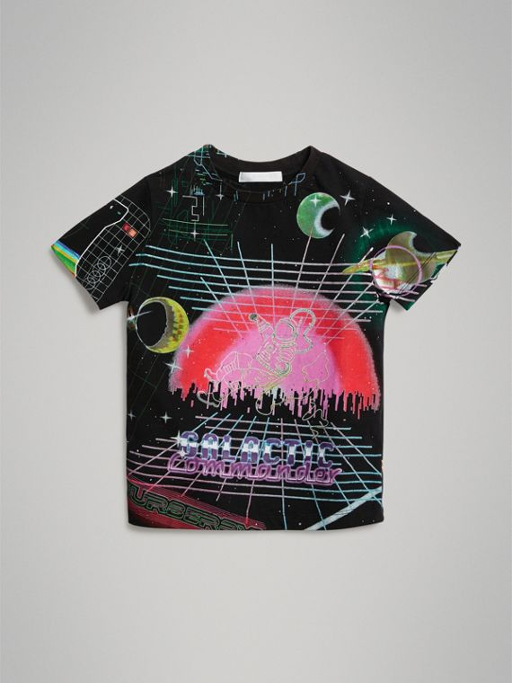 Galactic Print Cotton T-shirt in Multicolour
