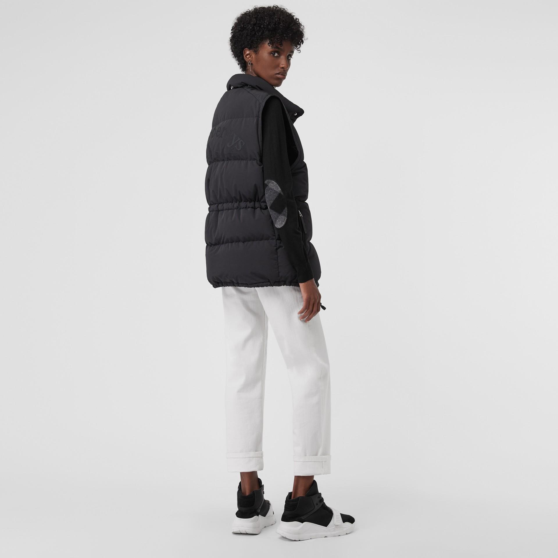 Check Detail Merino Wool Crew Neck Sweater in Black - Women   Burberry Canada - gallery image 0
