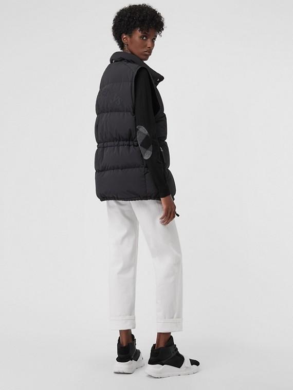 Check Detail Merino Wool Crew Neck Sweater in Black