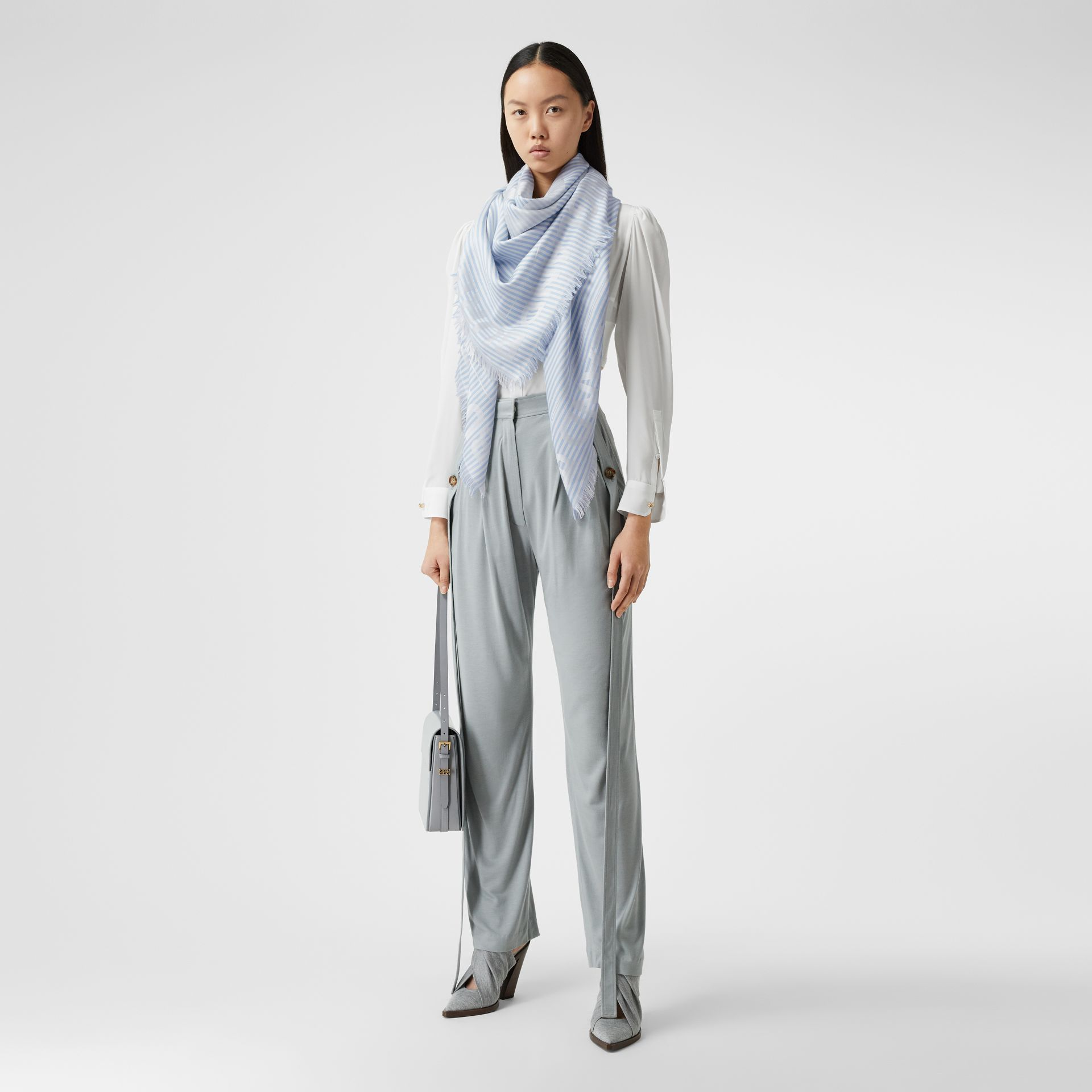 Striped Logo Silk Wool Jacquard Large Square Scarf in Pale Blue | Burberry - gallery image 4