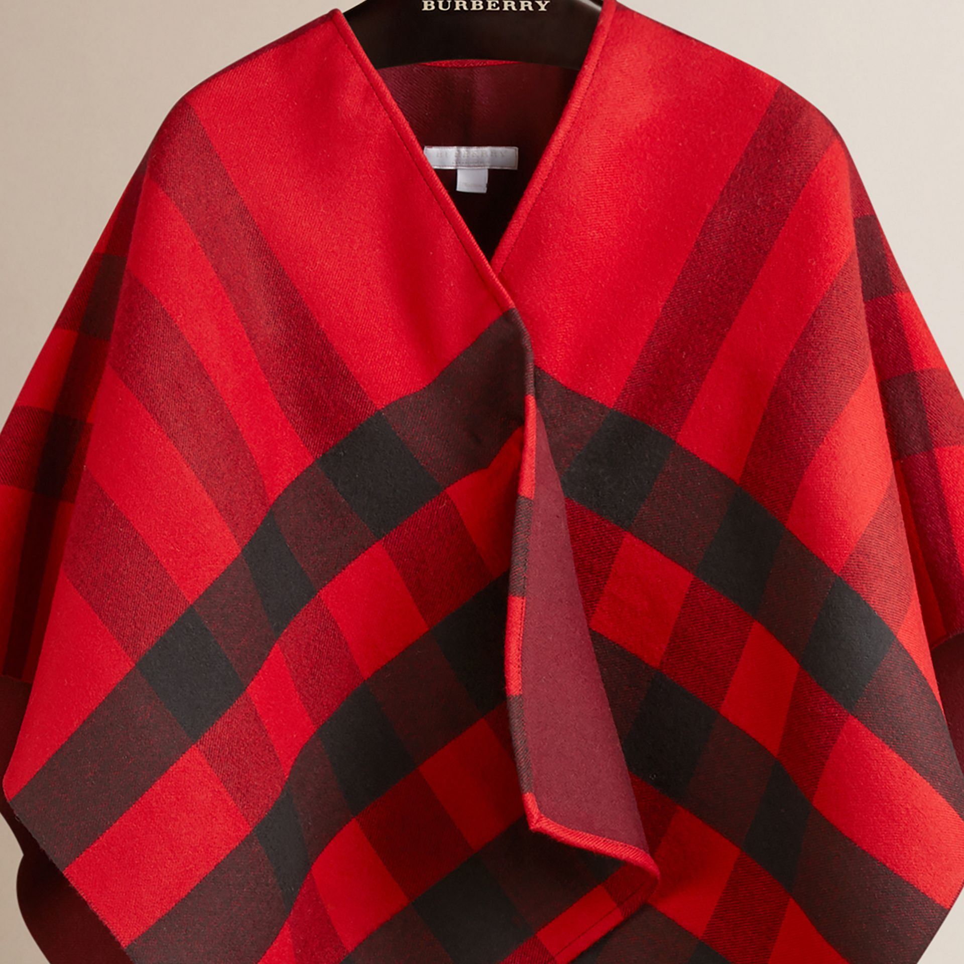 Check Wool Cape in Parade Red - gallery image 3