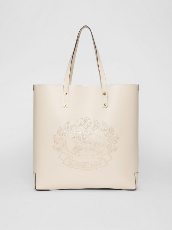 Large Embossed Crest Leather Tote in Limestone