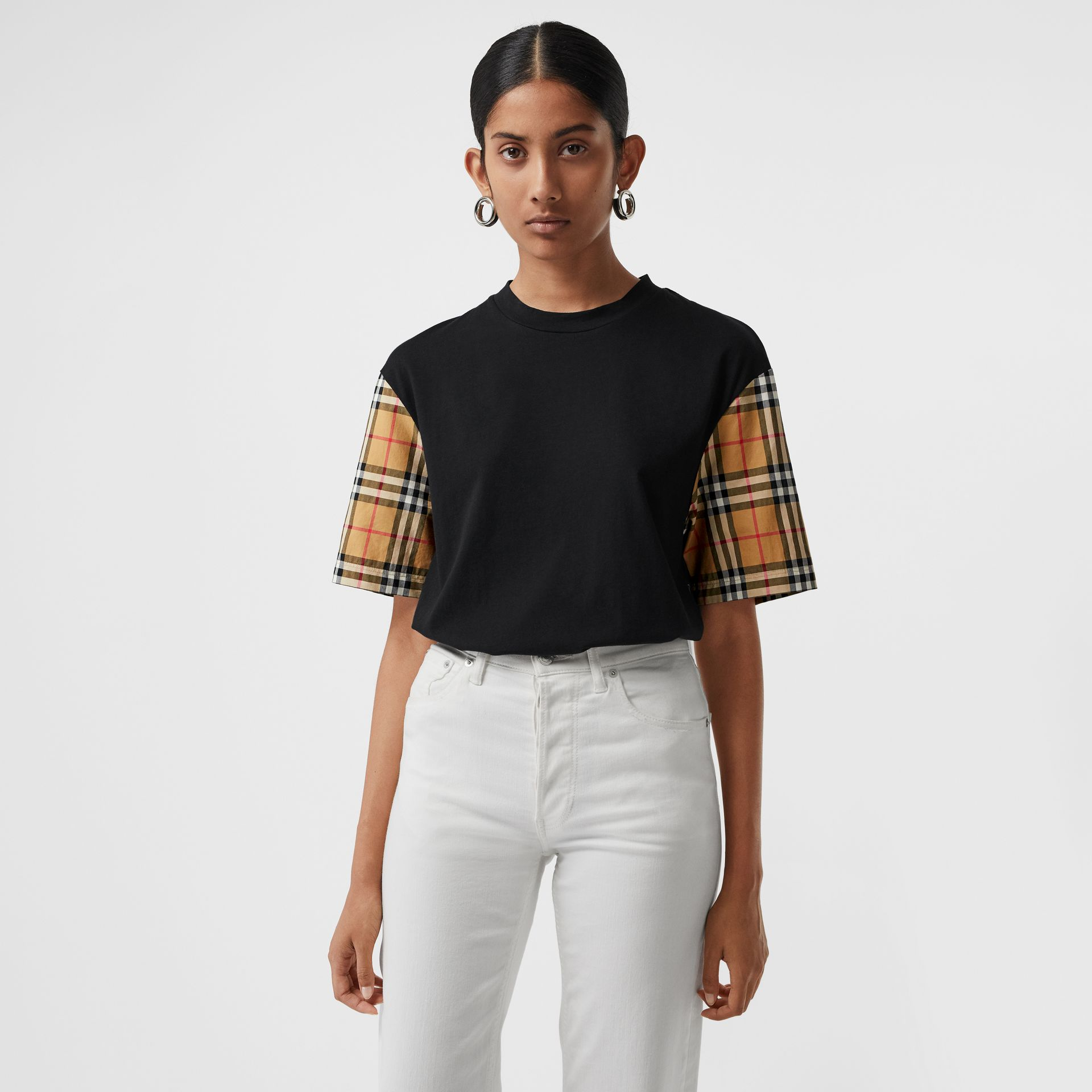 Vintage Check-sleeve Cotton Oversized T-shirt in Black - Women | Burberry - gallery image 4