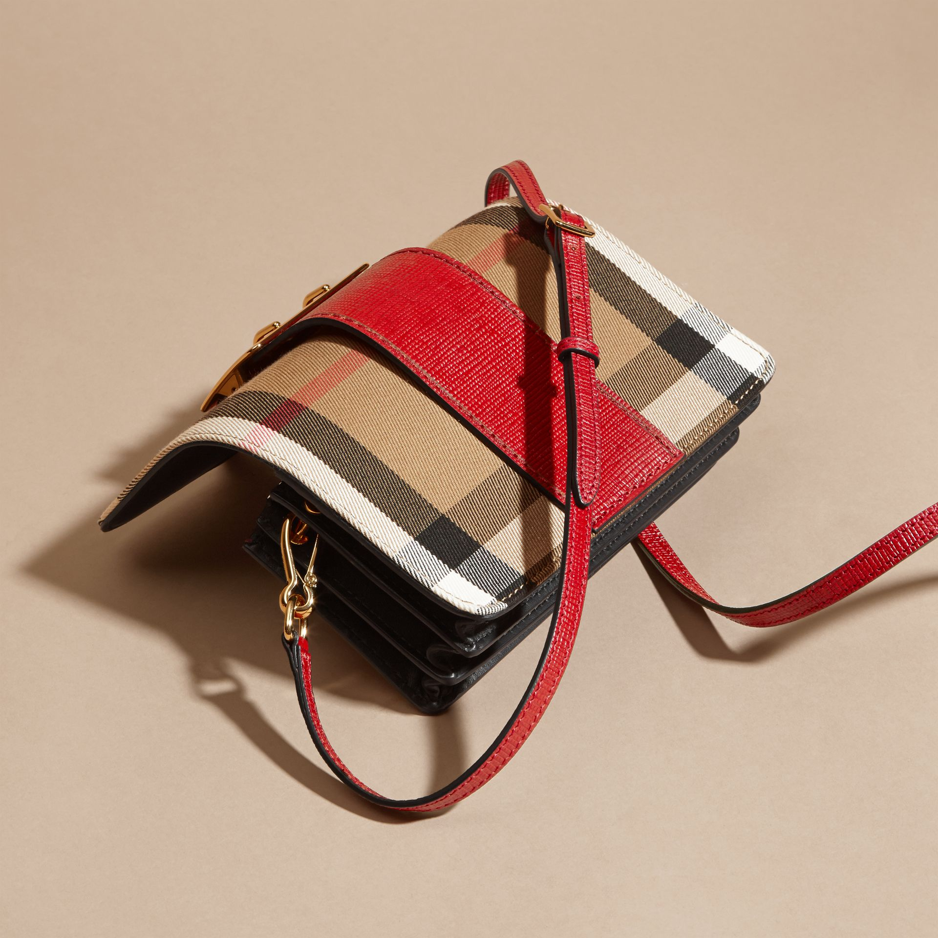 The Small Buckle Bag in House Check and Leather in Military Red/military Red - Women | Burberry United States - gallery image 4