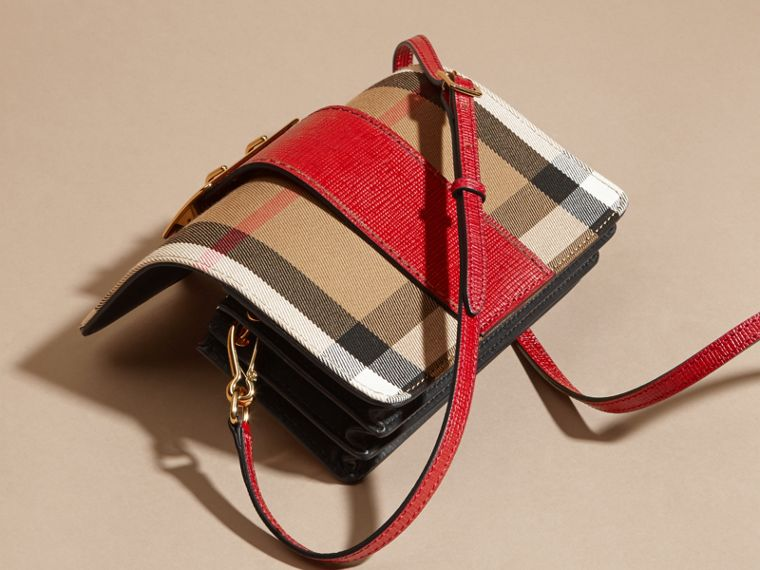 The Small Buckle Bag in House Check and Leather in Military Red/military Red - Women | Burberry - cell image 4